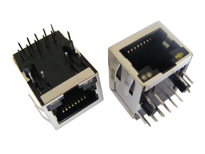 Bicolor LED RJ45 Connector Port High Performance For Maximum EMI Suppression