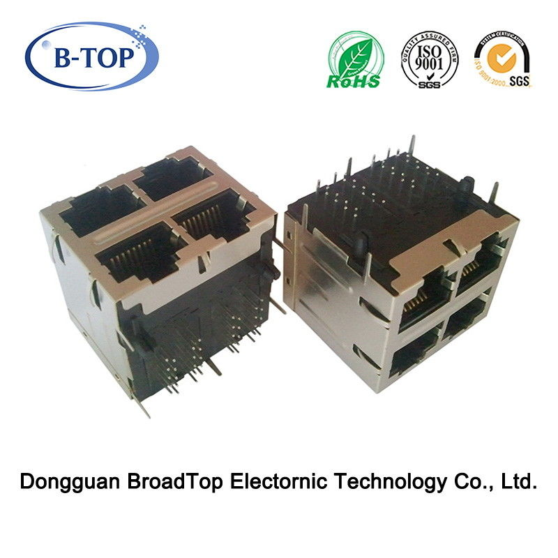 Multiport RJ45 Gigabit Connector , Shielded RJ45 Connector 2x2 Port With Transfomrer W/O LED