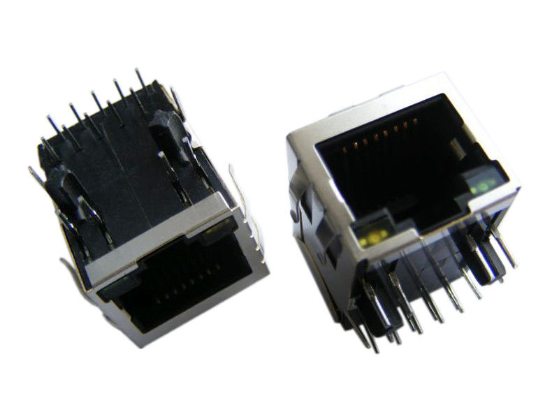 Latch Down RJ45 Single Port Integrated Gigabit 6μ Gold Plating For PC Applications